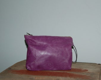 Pouch no. 4  Purple light weight leather with bangle handle and RIRI zipper