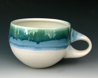 STONEWARE CUP #19 - Ceramic Cup - Coffee Cup - Tea Cup - Pottery Cup - Blue Cup - Green Cup - White Cup - Studio Pottery