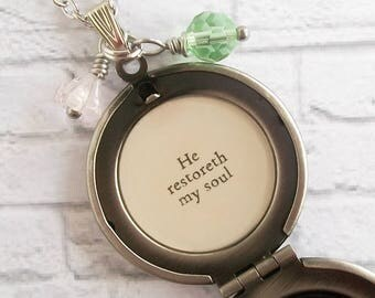 He Restoreth My Soul Psalm 23 Bible Verse Locket Necklace Floral Print Quote Pendant Cottage Chic Christian Jewelry