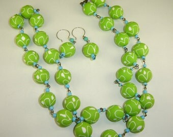 Long Strand Necklace of Lime Green Polymer Beads and Earrings