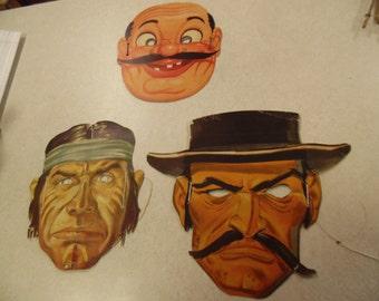 Wheaties Halloween masks, native wheaties mask, 40's Wheaties Halloween,three wheaties halloween
