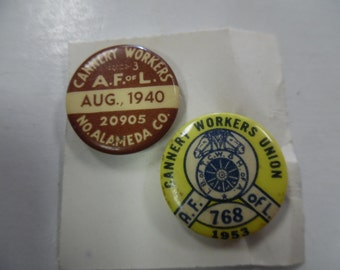 Vintage Union pins, Labor Union pins, cannery workers union, 1953 union pinback