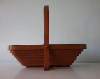 Collapsible Teak Wood Basket, Handmade and Signed by Deep Spring, Large Basket