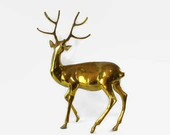 Very Large Brass Deer Statue, Hollywood Regency Decor, Brass Sculpture, Vintage Brass Statue, Christmas Deer Decoration