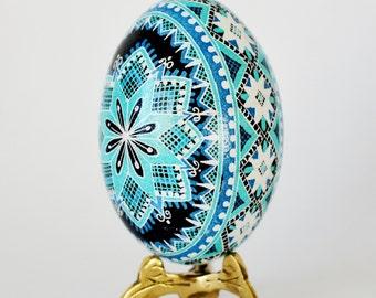 Turquoise Pysanka chicken egg Blue Pysanka Ukrainian Easter egg hand painted