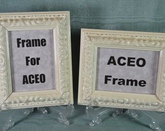 Pair of ACEO Picture Frames - Glossy Ivory Ornate Frames -  Pair of ACEO Photo Frames