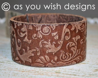 EMBOSSED Upcycle Leather Cuff Up-cycled Leather Cuff Bracelet From Belt Upcycle Upcycled