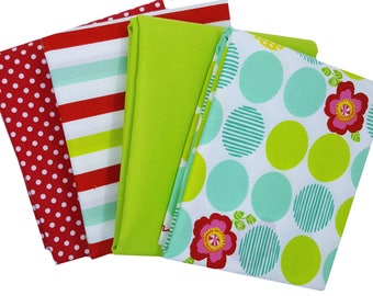 Bundle of 4 in Lime, Red, Aqua and White from the Moxi Collection with coordinating Dotties, by Moda