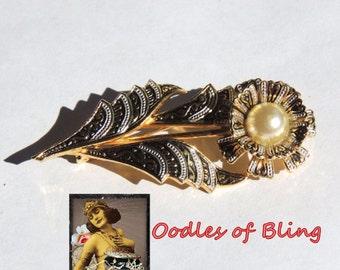 Vintage Damascene Flower Brooch Pin Pearl Jewelry