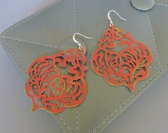 Paint the Roses. Red Bohemian Statement Earrings. patina. brass. bold. large. chandelier. feminine. lightweight. filigree.