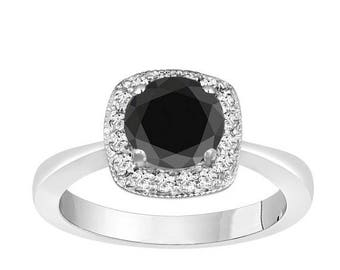 ON SALE Fancy Black & White Diamond Halo Engagement Ring 1.30 Carat 14K White Gold Certified handmade