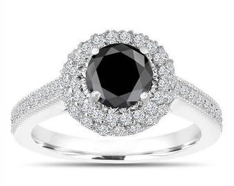 ON SALE Double Halo Black Diamond Engagement Ring 14K White Gold 1.66 Carat Pave Certified Unique