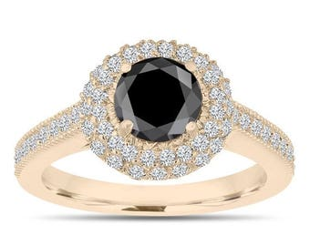 ON SALE Double Halo Black Diamond Engagement Ring 14K Yellow Gold 1.66 Carat Pave Certified Unique
