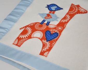 Organic Baby Blanket with Giraffe and Birds -- Blue and Orange -- Free Personalization