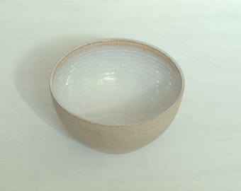 Contemporary stoneware bowl.  Simple, minimal serving bowl.  Wheel thrown, handmade.  Raw clay.