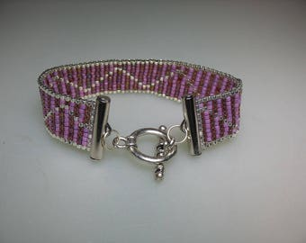 Hand Loomed Glass Delica Seed Bead Bracelet Rose Pink and Silver