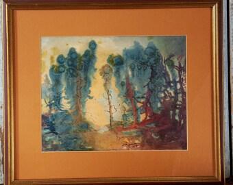 SALE! Vintage Impressionism Landscape Mid Century Eames Atomic Era Abstract Painting c. 1958