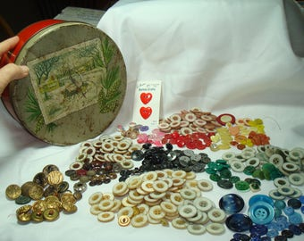 Super Large Group of Vintage Buttons in Its Original Button Tin Box