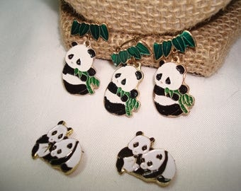 Five Vintage Chinese Little Panda Bear Pins.