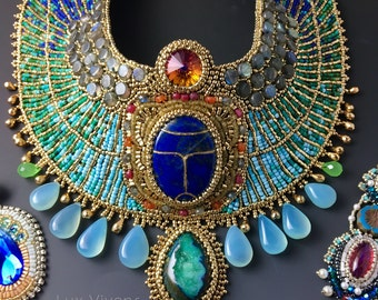 Egyptian Goddess -  READY to SHIP - Egyptian Scarab Collar Necklace plus One Pair Earrings, Gemstones and Goldplate Beads, Bead Embroidered