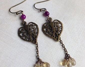 Morning glory leaf earrings