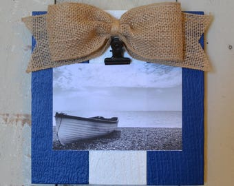 Nautical Rustic Wood Clip Photo Frame, Photo Clip Board, Photo Display Frame, Salvaged Wood Clip Frame, Navy & White, Patriotic Decor, Frame