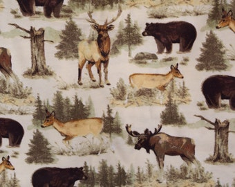 Painted look moose, elk and bear with pine trees on creamy yellow flannel pants Lounge pants pajama made to order your choice size XS - 2X