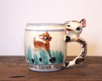 oh Dear, Always Drink Milk - vintage 1950s blue striped children's ceramic mug with figural DEER handle