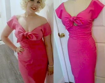 Rose's Pinup Wiggle Dress- Marilyn Style- Niagara Hot Pink or Red Tie Front - Custom Made