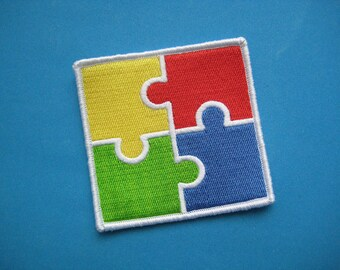 SALE~ Iron-on Embroidered Patch Jigsaw Puzzle 3 inch