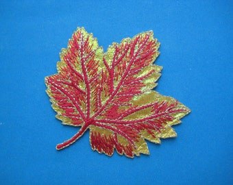 Sale~ Iron-on Embroidered Patch Maple Leaf (gold) 2.9 inch