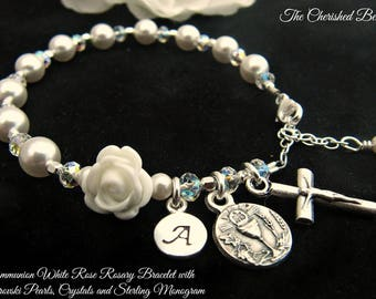 Communion Personalized Rosary Bracelet with White Rose, Swarovski Pearls, Crystals and Sterling Monogram Charm - Communon Heirloom