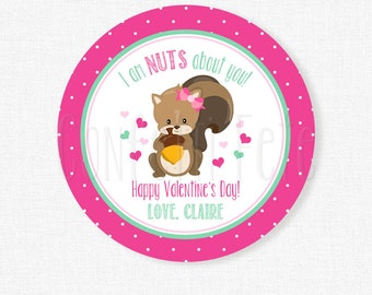 I'm NUTS About You Valentine Tag, Squirrel Valentine Tags, Nut Valentines, Girl Valentine Tags, Cute Valentines Personalized