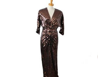 60% off sale // Vintage 80s Brown Sequin Evening Gown Dress - Women Small, Sz 4 - Oleg Cassini