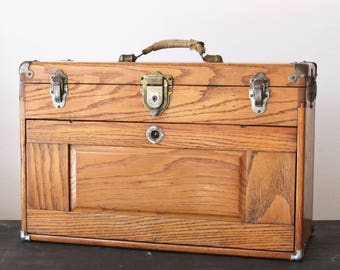 Vintage Oak Seven Drawer Tool Chest