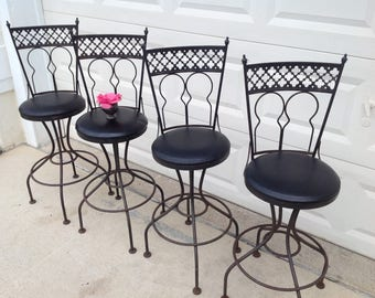"4 MID CENTURY MODERN Wrough Iron Swivel Barstools / Set of 4 Swivel Bar Stools / Seats 29"" tall / Wrought Iron Bar Stools Retro Daisy Girl"