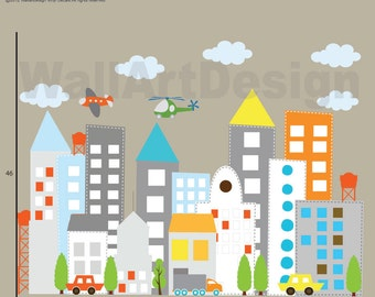 Kids Vinyl Wall Sticker Decal Art city buildings with cars trucks helicopter airplane Children