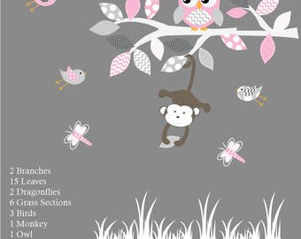 Vinyl Wall Decal  Nursery Wall Decal Pink Baby Tree with Animals Vinyl Wall Decal