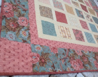 RESERVED Simply NURTURE 54x60 quilt in vintage blue, rose and gold