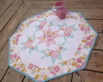 Spring Promenade 26 inch quilted table octagon in pastels