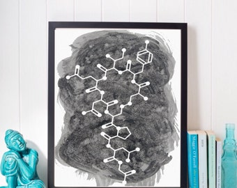 Oxytocin Art Print - Molecule of Love Oxytocin Blue Watercolor Art Print - Unique Gift For Girlfriend - Gifts under 20 - Valentines Day Gift