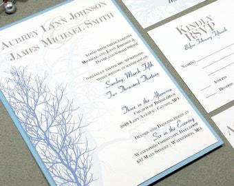 Tree Wedding Invitations, Winter Wedding Pocket Invitation Suite, Blue and Navy Wedding Invite Set, Monogram Wedding Invites, Modern Script