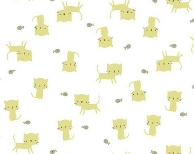 Organic KNIT Fabric - Cloud9 Tout Petit - Little Kittens White