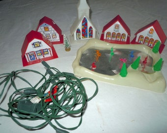 Vintage Light up Christmas town with ice skaters Small world Tiny Town