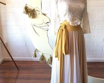 Tulle Full Circle High Waist Sash Skirt~ Custom Choose Fabrics for Bridal Skirt Seperates, Bridesmaids, Prom, Coralie Beatrix