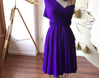 "Ready Made- 24"" Standard- Stargazer Royal Purple Short Octopus Infinity Convertible Wrap Dress~ Bridesmaids, Wedding, Bohemian"