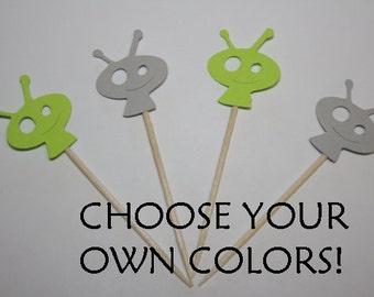 24 mini food picks - Space Alien - Choose your Colors!