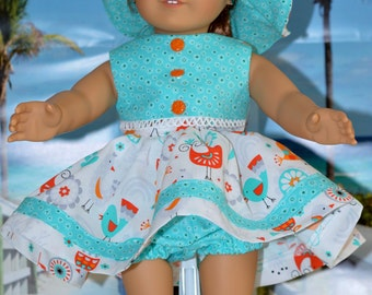 18 Inch Doll Clothes Three Piece Outfit Sleeveless Dress, Panties and Floppy Brimmed Hat by SEWSWEETDAISY