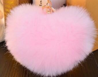 Faux Fur Heart Shape Pompom Car Keychain Purse Pendant Bag Accessory Backpack Charm Faux Rabbit Fur Key Ring