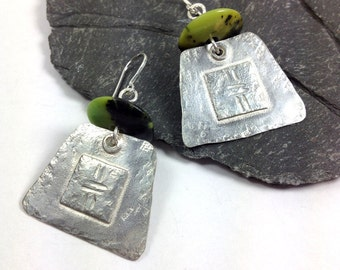 Large Tribal earrings , silver and serpentine
